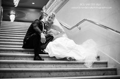 Fancy wedding at One King West in the City of Toronto.  Shots couple, venue and bank vaults.