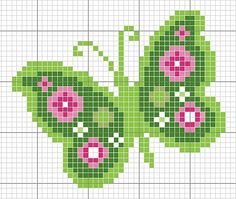Green butterfly cross stitch