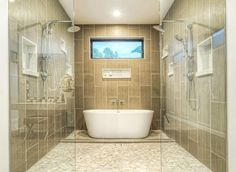 Contemporary master bathroom with shower and bathtub