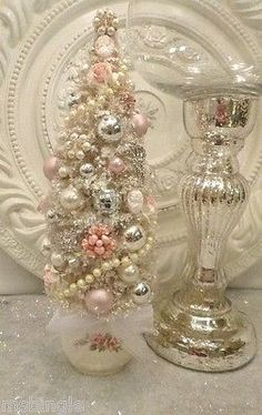 Vintage Shabby Rose Ornaments Bottle Brush Tree with Cameos Earrings Pink | eBay
