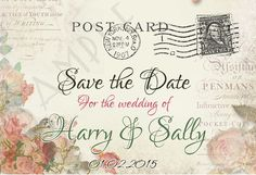 PERSONALISED VINTAGE CHIC POSTCARD WEDDING SAVE THE DATE CARDS x 10 -SHABBY CHIC in Home, Furniture & DIY, Wedding Supplies, Cards & Invitations | eBay