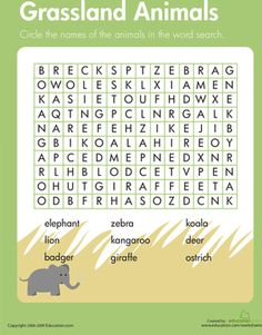 Third Grade Vocabulary Life Science Word Search Worksheets: Habitats Word Search: Grassland Animals