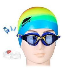 Swimming Googles with Swim CapNose ClipEarplug4 Sets for Proffessional Swimmers MenWomen Reduce Drag Speed Up -- Want to know more, click on the image.Note:It is affiliate link to Amazon.
