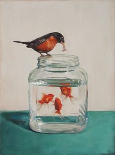 Surrogate (painting by Springhofeldt on etsy). Robin feeding mealworms to goldfish. Arte Peculiar, Art Et Illustration, Art Graphique, Fish Art, Painting & Drawing, Time Painting, Art Inspo, Giclee Print, Cool Art