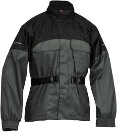 FirstGear Rainman: Waterproof-breathable design.  70-denier nylon with full nylon slip lining.  Dual storm closure pockets.  Integrated stuff sack.  3M Scotchlite reflective logo.  Integrated rain hood stores in collar.  1-year limited manufacturer's warranty.
