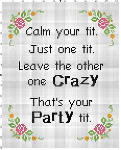 The Titty Party   Funny Modern Cross Stitch by SnarkyArtCompany