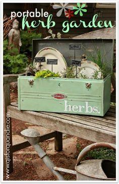 a portable herb garden and a Fusion giveaway. a portable herb garden and a Fusion giveaway. An Herb Toolbox. Garden Junk, Garden Planters, Garden Tools, Garden Sheds, Garden Whimsy, Garden Bar, Beer Garden, Glass Garden, Vintage Gardening