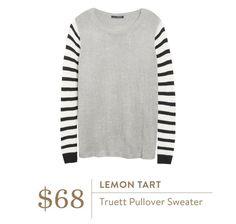 Stitch Fix September 2016 - Lemon Tart, Truett Pullover Sweater Gray with stripes