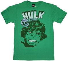 "The Incredible Hulk Comic Book Cover Shirt  This officially licensed Marvel Comics shirt features ""The Incredible Hulk""  from the comic book cover of the Smash 2nd issue. It has s moderately distressed white print on Kelly Green. This 100% cotton Hulk shirt is a higher thread count (30 Single) , making it softer and more comfy than the average t-shirt.    Fabric Details        Color: Kelly Green      100% Cotton, thread count: 30 single     Our Price: $17.95"