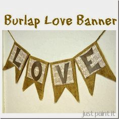 Make a Burlap Banner with Mod Podge, scrapbook paper and letters cut from a cereal box!