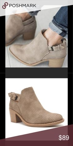 Buckle Bootie in beige. Perforated Buckle Bootie in beige. Box not included. Shoes Ankle Boots & Booties