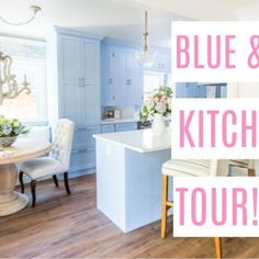 blue and white classic kitchen reveal. Reeady to see a French country farmhouse inspired kitchen makeover? I'm sharing before and afters of this vintage Ikea Hack Bench, Light Blue Kitchens, Vintage Girls Rooms, Banquette Seating, Dining Nook, Rainbow Wall, Upper Cabinets, Little Girl Rooms, Vintage Shabby Chic