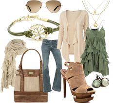 """""""Sage and Cream"""" by alison-louis-ellis on Polyvore  Maybe not the shoes those are  alittle diffrent"""