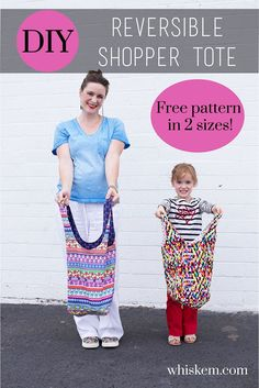 This quick and easy reversible tote bag sewing tutorial will have you whipping these cute things up in no time! Includes free pattern for both adult and kid sizes.