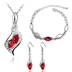 Jewelry Sets top rated  HSG Fashion Red Color Necklace Earring Bracelets Jewelry Set for Women