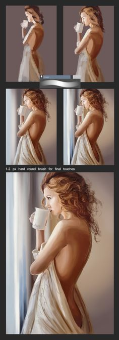 Step by step tutorial by XGingerWR on DeviantArt 1 hour study The coffee. Drawing Tutorials For Beginners, Art Tutorials, Step By Step Painting, Step By Step Drawing, Digital Painting Tutorials, Digital Paintings, Digital Portrait, Digital Art, Portrait Sketches