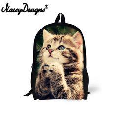 FORUDESIGNS Cute Cat Print Children School Bags 2427d7d4079b9