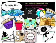 This Cat Loves Cupcakes Clipart collection includes all the images shown in the sample picture and more. This pack includes 40 different clips:* Black line masters of most clips* If you give a cat a cupcake* Cat* Cupcakes (2)* Swim trunks* Bucket* Sandcastle* Beach umbrella* Beachball* Sun* Water* Cat running on treadmill* Cat lifting weights* Cat doing martial arts* Monkey* Dinosaur* Sprinkles* So much moreGraphics come in PNG format 300 dpi format.My graphics are suitable for printing and…