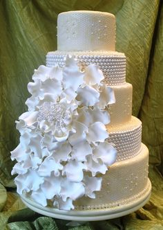 Romantic Wedding Cakes | Modern Romantic wedding cakes with ruffles and bows by The Cake Zone ...