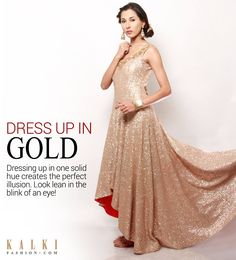 GOLD IS THE NEW BLACK!!!  Get party ready with this high-low gold shimmer anarkali and look lean and slim instantly!  Shop at kalkifashion.com or visit our stores @Worli and @Santacruz