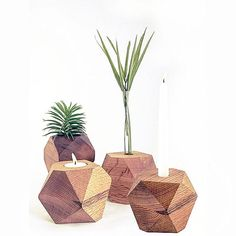 This listing is for ONE candle holder/bud vase. This double-sided geometric wood candle holder/bud vase is made from a solid block of wood thats been cut, sanded and finished with mineral oil and beeswax. Two holes have been drilled on opposite sides, one for tea lights and the other for