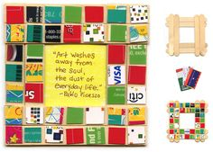 Art Projects for Kids: Recycled Mosaic Picture Frame. Could use pieces from soda cans, cereal boxes, fabric scraps, wrapping paper bits, etc. Could also use cardboard for the frame and a photo or quote In the center. Recycled Art Projects, Recycled Crafts, Projects For Kids, Craft Stick Crafts, Paper Crafts, Craft Sticks, Card Crafts, Kids Crafts, Craft Kids