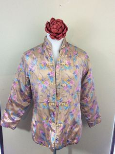 Pink Floral Cherry Blossom Asian Kimono Style Padded Puffy Jacket Coat Medium #Unbranded #BasicJacket #Casual