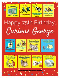"""The NoveList Book Squad has made this fabulous LibraryAware reading map to celebrate Curious George's 75th Birthday. Search """"Reading Maps"""". Have fun. Create."""