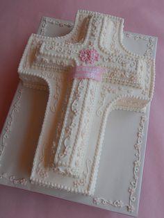 Baby Girl Baptism Cross Cake by CakesUniqueByAmy.com, via Flickr