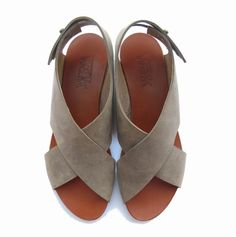 // grey leather sandals