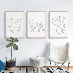 Abstract Line Curve Cat Animal Canvas Poster – Purrguin - Katzen Poster Pictures, Pictures To Draw, Drawing Pictures, Wall Art Pictures, Canvas Poster, Canvas Art, Picture Wall Living Room, Images Murales, Picasso Style