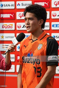 Toshiyuki Takagi of Shimizu S-Pulse is interviewed after the J.League match between Shimizu S-Pulse and Vegalta Sendai at IAI Stadium Nihondaira on May 25, 2013 in Shizuoka, Japan.