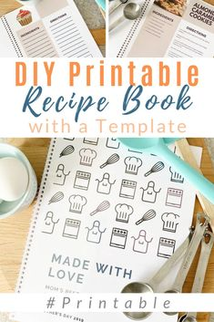 Create the sweetest memories of family recipes with this print out cookbook and blank recipe pages! Spiral bound or put them into a binder. Perfect for family gifts - especially Mother's Day! Make Your Own Cookbook, Making A Cookbook, Create A Cookbook, Cookbook Ideas, Cookbook Recipes, Homemade Recipe Books, Homemade Cookbook, Diy Recipe Book, Recipe Book Templates