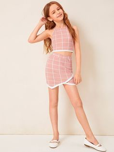 Girls Contrast Trim Grid Halter Top And Wrap Skirt Set – Kidenhouse Source by outfits girls Girls Fashion Clothes, Kids Outfits Girls, Cute Girl Outfits, Tween Fashion, Cute Outfits For Kids, Teen Fashion Outfits, Cute Summer Outfits, Cool Outfits, Girls Dresses