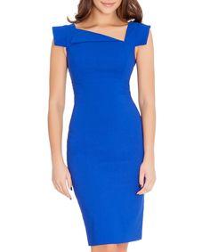 Royal blue asymmetric collar dress by Goddiva on secretsales.com