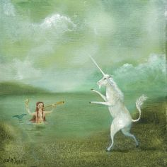 """Fine Art Print of an Original Animal Painting: """"Lutey and the Mermaid"""""""
