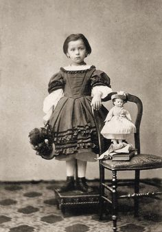 Civil War Photo of a young Girl and her Doll.