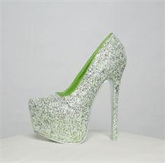 Alba Yang-27 Green Glitter Texture Hidden Platform Pump