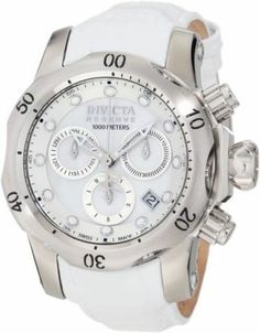 Invicta Womens 0950 Venom Reserve Chronograph White MOP White Leather Watch