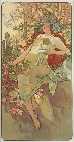 Alfons Mucha (1860-1939). The Seasons: Autumn. 1896. Colour lithograph. Mucha Museum - Prague - Czech Republic