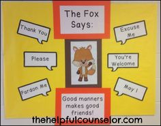 Manners Matter: What Does the Fox Say Bulletin Board idea and coloring page freebie. #bulletinboard #manners