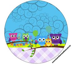 Rótulo Latinha, Gelatina e Bandeirinha para Cupcakes Corujinhas Lilás e Azul: