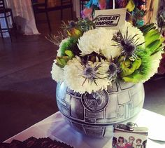 Death Star vase  http://www.rhapsodyinblooms.com/real-weddings/bvvzd1cy4vfrmbof3tlsz46trxjs7d