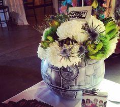 Death Star vase  http://www.rhapsodyinblooms.com/real-weddings/bvvzd1cy4vfrmbof3tlsz46trxjs7d