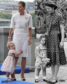 Queen Silvia with toddler Victoria and Crown Princess Victoria with her toddler Estelle