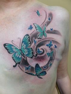 Flowing butterflies -- inspiring mastectomy tattoo by Stacie-Rae Weir Breast Cancer Art, Breast Cancer Tattoos, Tattoos To Cover Scars, Scar Tattoo, Cover Tattoo, Beautiful Tattoos, Cool Tattoos, Tatoos, Butterfly Tattoo Cover Up