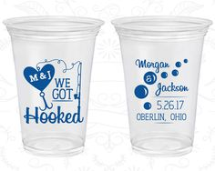 We Got Hooked, Printed Clear Cups, Fishing Wedding, Fisherman Wedding, Fishing Pole, Clear Plastic Cups (496)