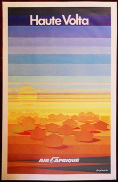 Original Poster Haute Volta Upper Burkina Faso Africa Air Afrique Painting Sun
