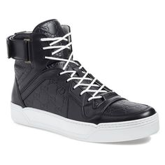 Men's Gucci 'New Basketball' High Top Sneaker (3.030 BRL) ❤ liked on Polyvore featuring men's fashion, men's shoes, men's sneakers, mens hi top shoes, mens hi tops, mens retro sneakers, mens high tops and mens hi top sneakers