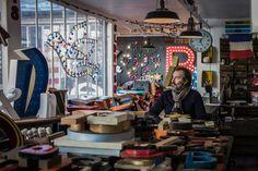 "This is an Ali bla bla cavern where everybody would love to lost himself ! ;) Nicolas Flachot Aka Kidimo is one of those guy you want to meet and discuss with, about type, passion, vintage and decoration.  Nicolas Flachot alias Kidimo, rencontre intime avec un ""artistan"" (artiste + artisan) comme on en croise peu, dans son atelier de la rue Saint-Denis, Paris. ©CamilleGabarra_photographer&designer_www.lgetg.fr #StreetPortrait #Places #PlacesAndFaces #Paris #LeicaM9 #CamilleGabarra…"